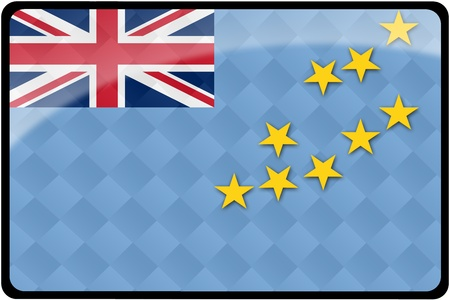 Stylish Tuvalu flag rectangular button with diamond pattern overlay.  Part of set of country flags all in 2:3 proportion with accurate design and colors.