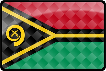 Stylish Vanuatu flag rectangular button with diamond pattern overlay.  Part of set of country flags all in 2:3 proportion with accurate design and colors. Stock Photo