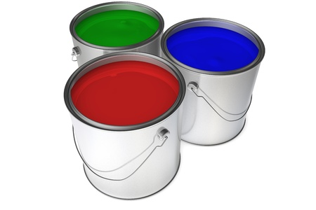 Detailed 3d rendering of three paint buckets with red, blue, and green paints.