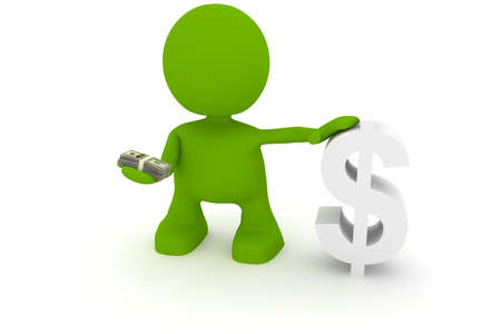 man holding money: Illustration of a man holding money next to a dollar sign.  Part of my cute green man series. Stock Photo
