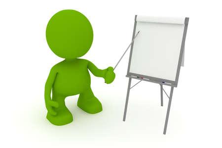 Illustratie van een zakenman presenteert op een flip-over.  Een deel van mijn schattige groene man serie.