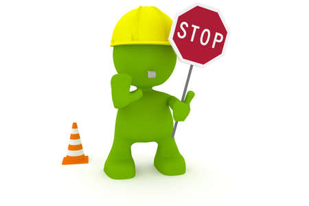 motioning: Illustration of a construction worker motioning to stop.  Part of my cute green man series.