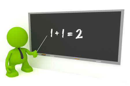 Illustration of an elementary math teacher at a blackboard.  Part of my cute green man series.