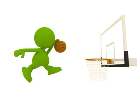 Illustration of a basketball player jumping high to dunk the ball.  Part of my cute green man series.