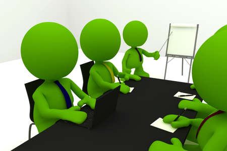 business meeting: Illustration of a businessman presenting at a flipchart with his colleagues taking notes.  Part of my cute green man series.