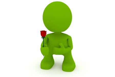 red rose: Illustration of a man holding a rose in his hands.  Part of my cute green man series. Stock Photo
