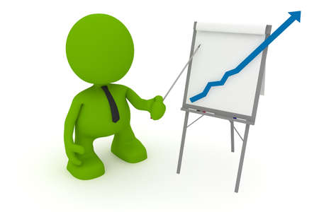 flipchart: Illustration of a businessman presenting at a flipchart showing a positive trend going off the chart.  Part of my cute green man series. Stock Photo