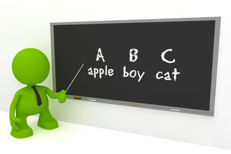language learning: Illustration of an elementary English teacher at a blackboard.  Part of my cute green man series.