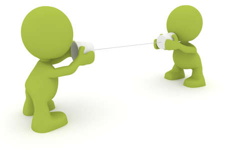 Illustration of two people talking using cups and string.  Part of my cute green man series. Stock Photo