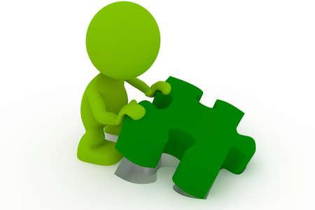 Illustratie van een man die plaatsen van het laatste stukje van een puzzel.  Deel van mijn schattige green man-serie. Stockfoto