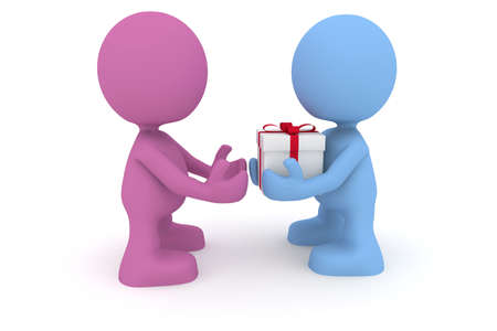 3d cg: Illustration of a man giving a present to a woman.  Part of my cute little characters series.