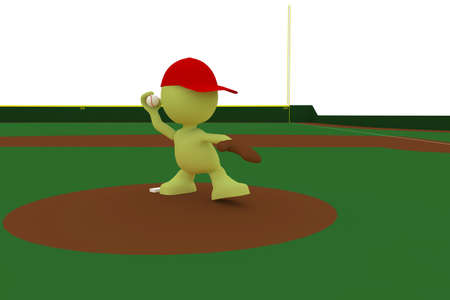 baseball diamond: Illustration of a pitcher about to throw a baseball.  Part of my cute green man series. Stock Photo