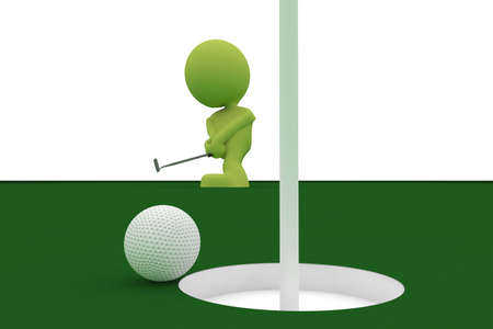 Illustration of a golf ball almost going in the hole with a man holding a putter in the background.  Part of my cute green man series. Stock Photo