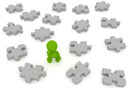 퍼즐 조각 사이 서 혼란 된 남자의 그림. 내 귀여운 녹색 남자 시리즈의 일부입니다.