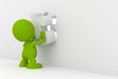 Illustratie van een man brengen het laatste stukje van een puzzel.  Een deel van mijn schattige green man serie.
