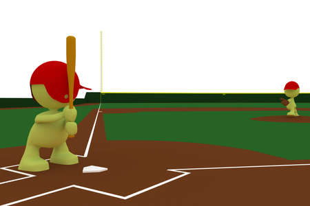 Illustration of a pitcher about to throw a baseball with a batter standing ready to hit.  Part of my cute green man series. illustration