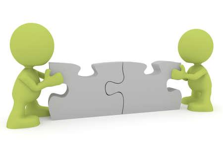 Illustration de deux personnes à assembler les pièces du puzzle.  Partie de ma série de cute homme vert.