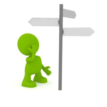 way to go: Illustration of a man looking at a street sign wondering which way to go.  Part of my cute green man series.