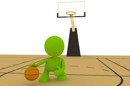 Illustration of a basketball player dribbling the ball.  Part of my cute green man series. illustration