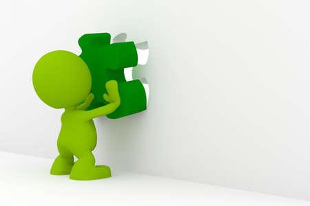 퍼즐의 마지막 조각을 배치하는 남자의 그림. 내 귀여운 녹색 남자 시리즈의 일부입니다.