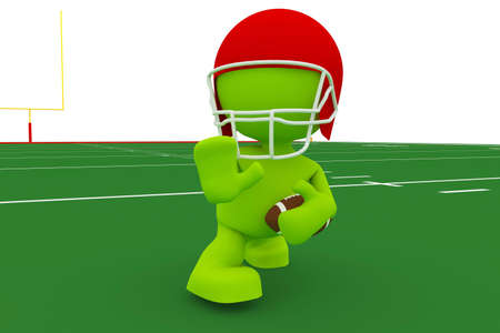 Illustration of a football player in the Heisman pose.  Part of my cute green man series.