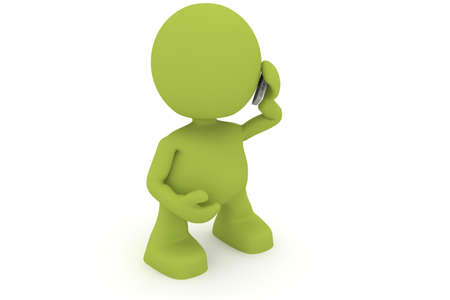 talking: Illustration of a man talking on a mobile telephone.  Part of my cute green man series. Stock Photo