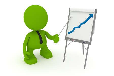 긍정적 인 추세를 보여주는 플립에서 제시하는 사업가의 그림. 내 귀여운 녹색 남자 시리즈의 일부입니다.