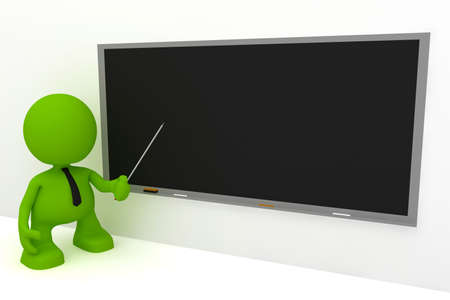 Illustration of a teacher at a blackboard.  Part of my cute green man series.