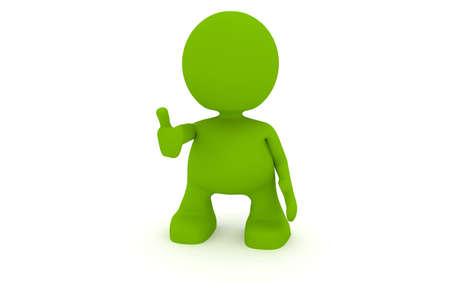 엄지 손가락을 포기하는 남자의 그림입니다. 내 귀여운 녹색 남자 시리즈의 일부입니다.