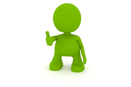 Illustration of a man giving the thumbs up.  Part of my cute green man series. Stock Photo