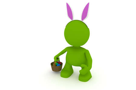 buny: Illustration of a person dressed up as the Easter bunny with rabbit ears holding a basket with painted eggs.  Part of my cute green man series.