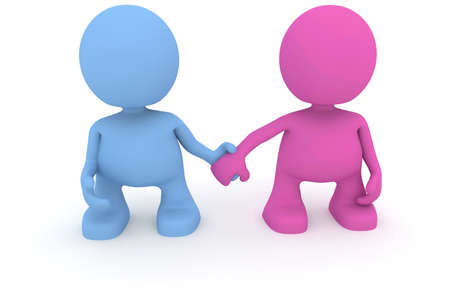 Illustration of a boy and girl holding hands.  Part of my cute little characters series. Stock Illustration - 8656085