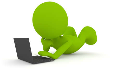 Illustration of a man lying on the floor working or playing with his laptop computer.  Part of my cute green man series.