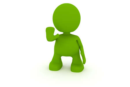 motioning: Illustration of a man motioning to stop.  Part of my cute green man series. Stock Photo