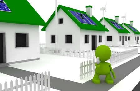 에너지 효율적인 전구를 누르고 태양 전지 패널과 바람 터빈과 함께 집 앞에 서있는 남자의 그림. 내 귀여운 녹색 남자 시리즈의 일부입니다. 스톡 콘텐츠