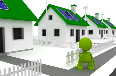 Illustration of a man holding an energy efficient lightbulb and standing in front of houses with solar panels and wind turbines.  Part of my cute green man series.