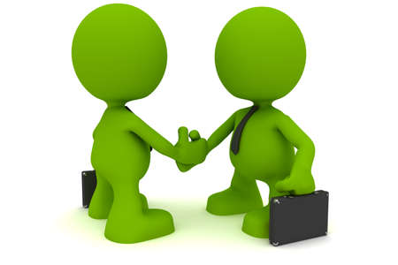figurines: Illustration of two businessmen shaking hands.  Part of my cute green man series. Stock Photo