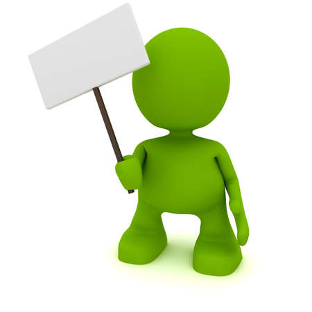 Illustration of a man holding a blank sign.  Part of my cute green man series.