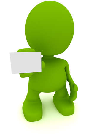 Illustration of a man holding a blank business card.  Part of my cute green man series. Stock Photo
