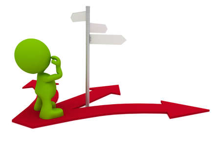3d cg: Illustration of a man looking at a street sign wondering which way to go.  Part of my cute green man series.
