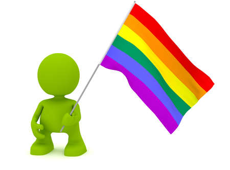 rainbow background: Illustration of a man holding the gay pride flag.  Part of my cute green man series.