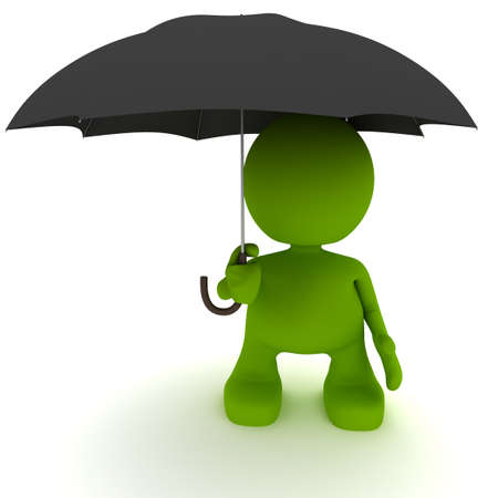 Illustration of a man holding an umbrella.  Part of my cute green man series.