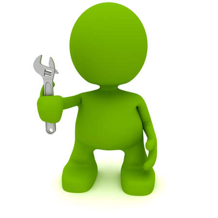 Illustration of a man holding a wrench.  Part of my cute green man series. Imagens - 8713577
