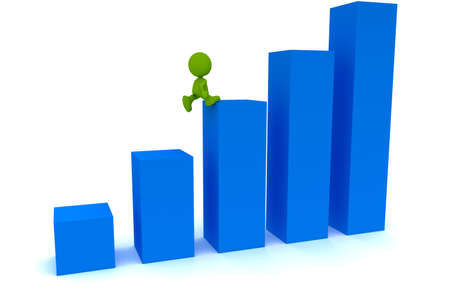 Illustration of a man running up a bar graph.  Part of my cute green man series.