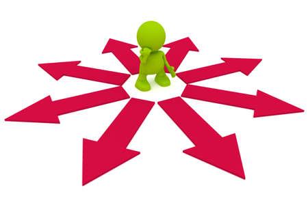 Illustratie van een man die overwegen welke richting te gaan.  Een deel van mijn schattige groene man serie.