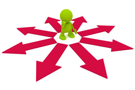 directional: Illustration of a man considering which direction to go.  Part of my cute green man series. Stock Photo