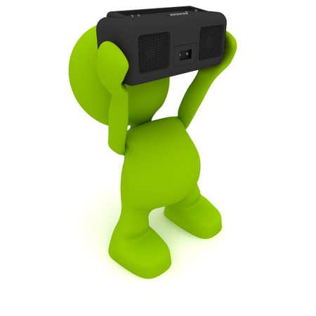 Illustration of a man holding a radio.  Part of my cute green man series. 版權商用圖片