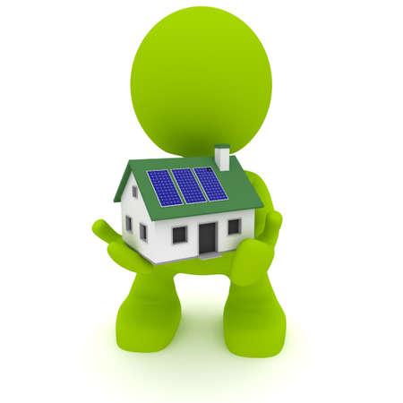 태양 전지 패널 집 들고 남자의 그림. 녹색 생활 개념입니다. 내 귀여운 녹색 남자 시리즈의 일부입니다. 스톡 콘텐츠