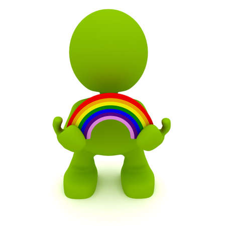 Illustration of a man holding a rainbow.  Part of my cute green man series. Stock Photo