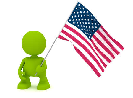 Illustration of a man holding an American flag.  Part of my cute green man series. illustration